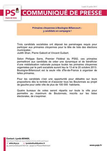 CP PS92 Primaires Boulogne-Billancourt Lundi 22 juillet 2013