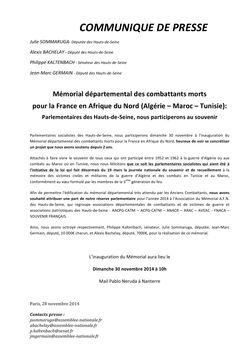 1.COMMUNIQUE DE PRESSE - Parlementaires des Hauts-de-Seine, nous participerons au souvenir - 28 11 2014 (1)
