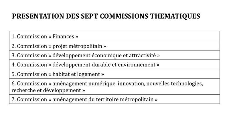 PRESENTATION DES SEPT COMMISSIONS THEMATIQUES